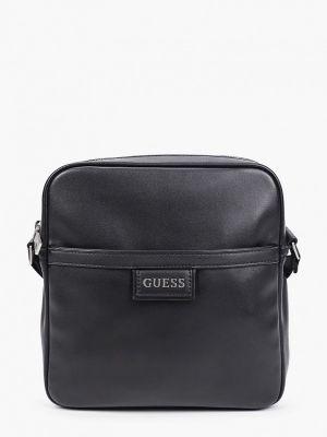 Черная кожаная сумка через плечо Guess