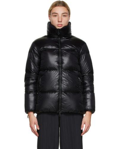 Пуховая черная стеганая длинная куртка Duvetica
