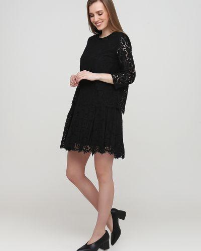 Ажурное черное платье с круглым вырезом Frnch