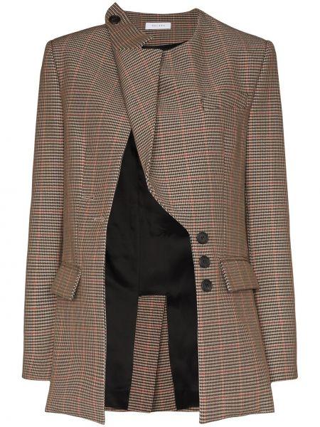 Шерстяная коричневая куртка на пуговицах с лацканами Delada