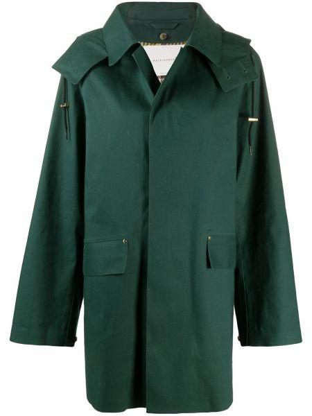 Зеленое шерстяное длинное пальто с капюшоном Mackintosh