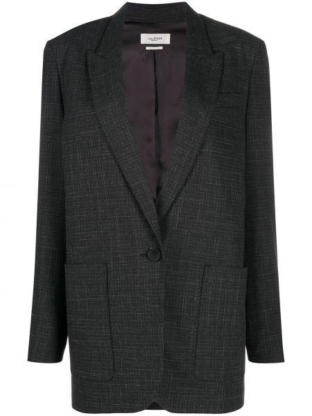 Черный удлиненный пиджак в клетку оверсайз Isabel Marant étoile