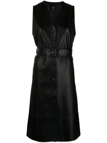 Кожаное черное платье миди без рукавов Arma