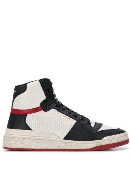 Biały włókienniczy sneakersy płaska podeszwa okrągły Saint Laurent