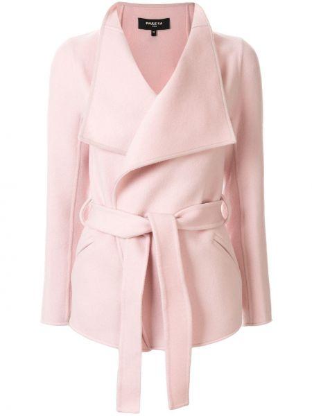 Розовая короткая куртка с поясом с воротником Paule Ka