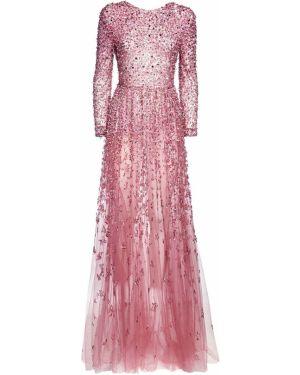 Розовое платье макси из фатина с открытой спиной с пайетками Valentino