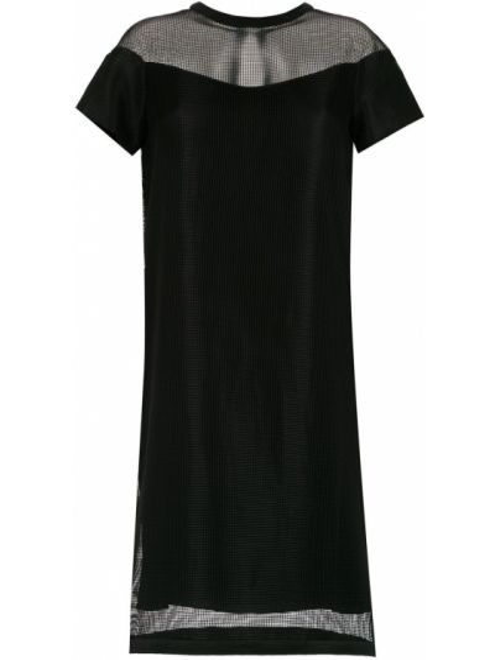 Черное платье с рукавами с короткими рукавами круглое из вискозы Gloria Coelho