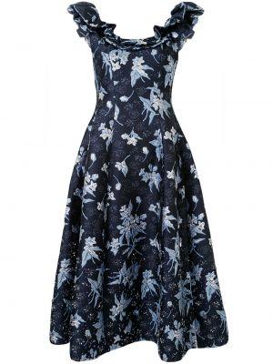 Шелковое платье - синее Delpozo