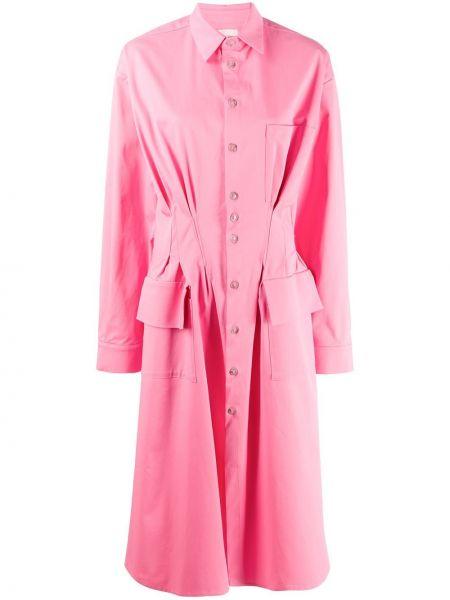 Платье миди с длинными рукавами - розовое Natasha Zinko