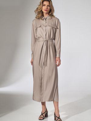 Beżowa sukienka z wiskozy Figl