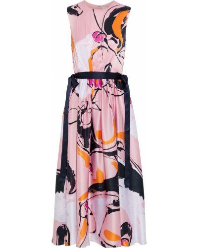 Różowa satynowa sukienka midi rozkloszowana Roksanda