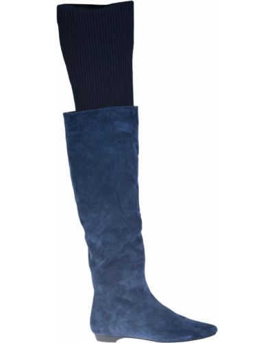 Ботфорты на каблуке кожаные замшевые Gianmarco Lorenzi