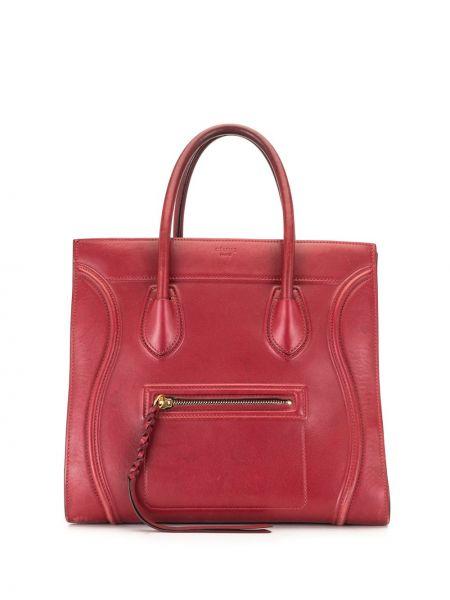 Золотистая красная сумка-тоут на молнии с карманами Céline Pre-owned
