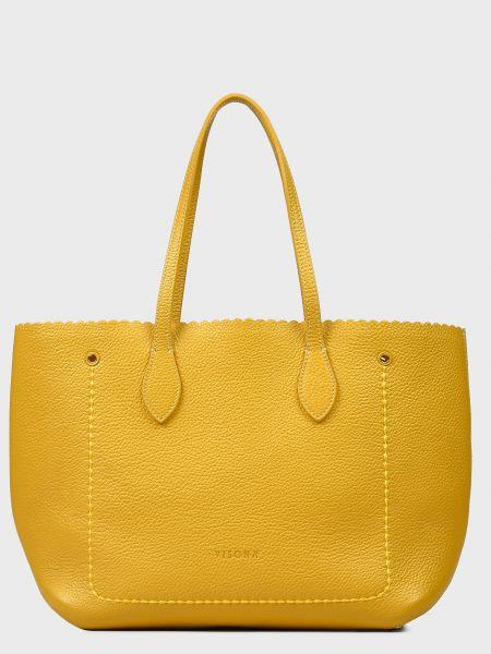 Кожаная сумка - желтая Plinio Visona'