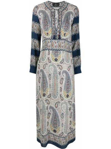 Прямое синее платье макси с вырезом Etro