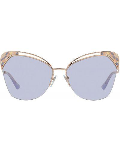 Желтые солнцезащитные очки металлические оверсайз Bvlgari