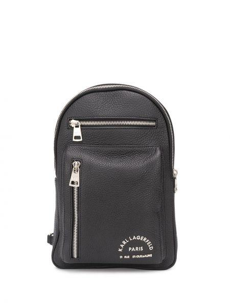 Серебряная сумка на плечо на молнии металлическая с карманами Karl Lagerfeld