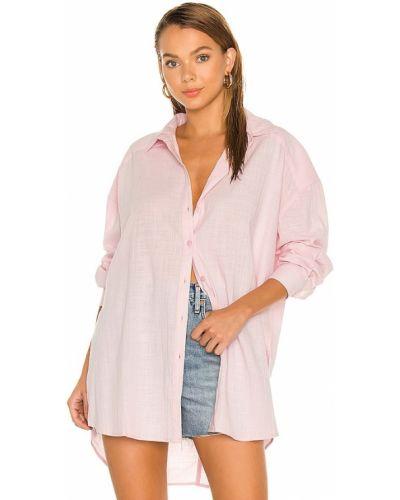 Różowa lniana koszula w paski boho Minkpink