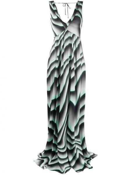 Платье с V-образным вырезом - зеленое Just Cavalli