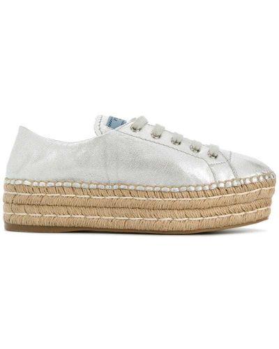 Кожаные кроссовки с логотипом на шнуровке Prada