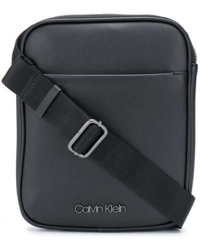 Серебряная сумка через плечо на молнии с карманами Calvin Klein