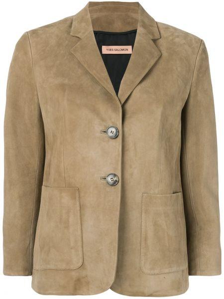 Однобортный кожаный пиджак на пуговицах Yves Salomon