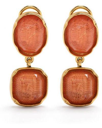 Pomarańczowe złote kolczyki sztyfty pozłacane Goossens