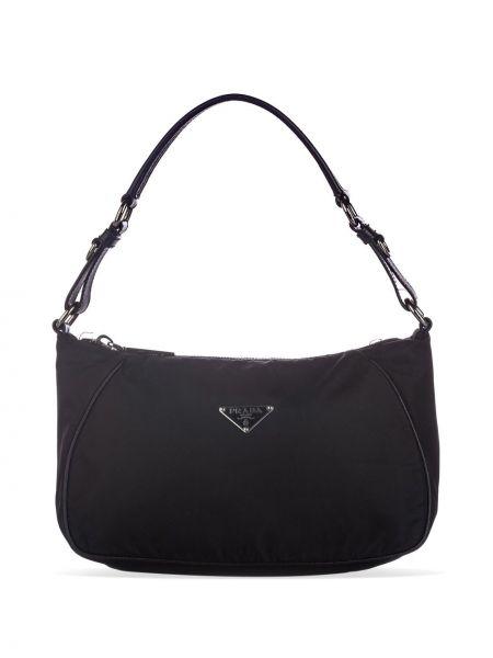 Черная нейлоновая сумка на плечо на молнии с подкладкой Prada Pre-owned