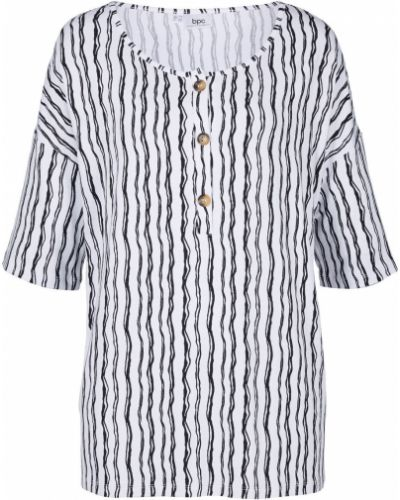 Трикотажная белая блузка в полоску Bonprix