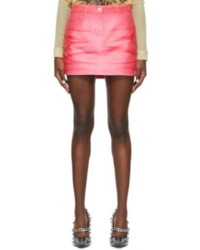Różowa spódnica jeansowa srebrna z paskiem Givenchy