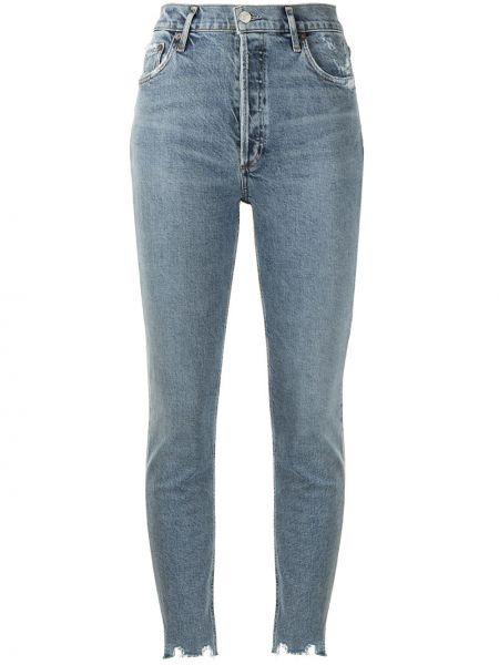 Bawełna niebieski z wysokim stanem jeansy do kostek z kieszeniami Agolde