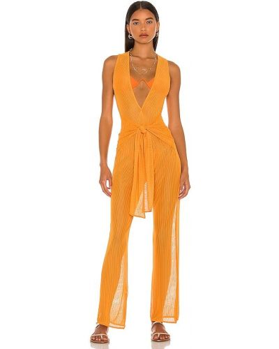 Pomarańczowy kombinezon z siateczką Camila Coelho