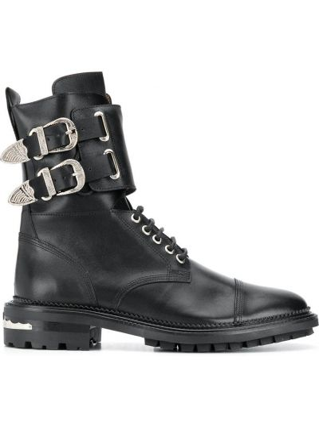 Кожаные черные ботинки на молнии с пряжкой Toga Virilis