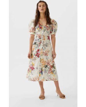 Платье миди с рукавами с принтом Stradivarius