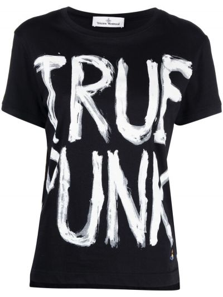 Черная футболка с надписью с вырезом Vivienne Westwood