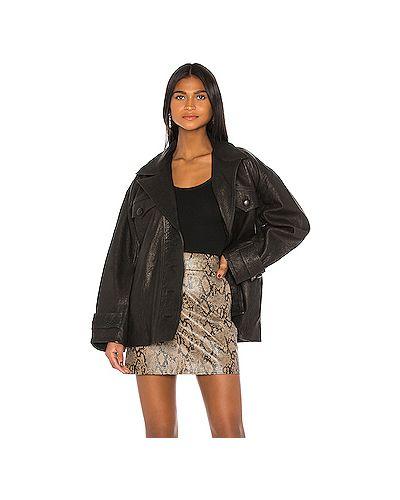 Текстильная черная куртка с поясом на пуговицах Grlfrnd