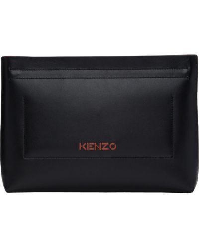 Черный клатч из натуральной кожи с тиснением Kenzo