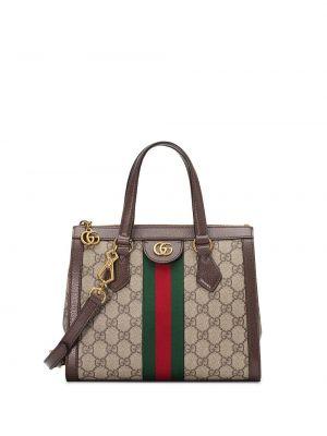 Открытая нейлоновая сумка-тоут с декоративной отделкой с карманами Gucci