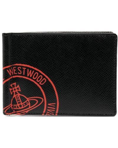 Czarny skórzany portfel z gniazdem Vivienne Westwood