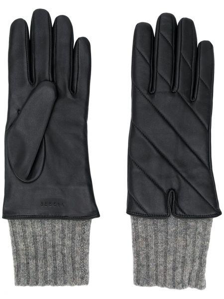 Кожаные черные перчатки с манжетами Sandro Paris