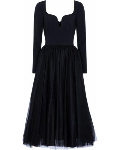 Черное платье миди из фатина Carolina Herrera