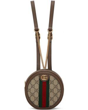 Кожаный рюкзак бежевый замшевый Gucci