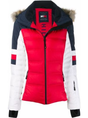 Акриловая красная куртка с капюшоном на молнии с манжетами Rossignol