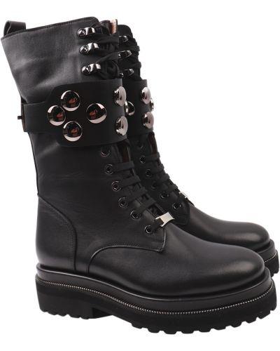 Кожаные сапоги - черные Tucino
