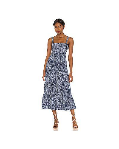 Хлопковое синее платье миди с подкладкой Likely