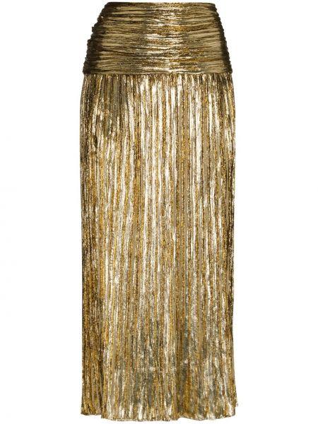 Шелковая с завышенной талией плиссированная юбка миди Saint Laurent