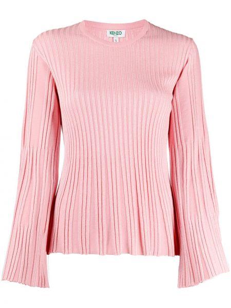 Розовый длинный свитер в рубчик металлический Kenzo