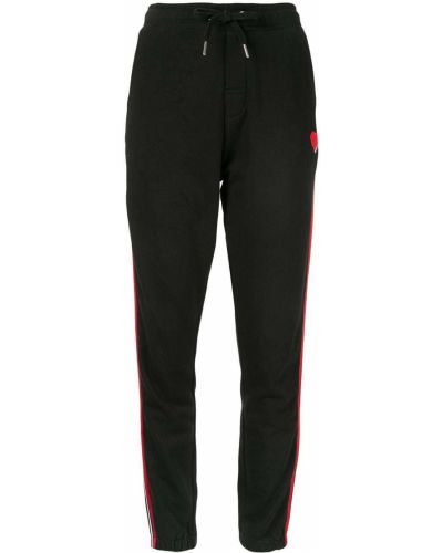 Хлопковые черные спортивные брюки с карманами на шнурках Zoe Karssen