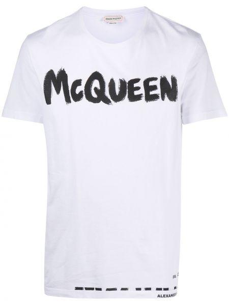 Koszula krótkie z krótkim rękawem z logo prosto Alexander Mcqueen