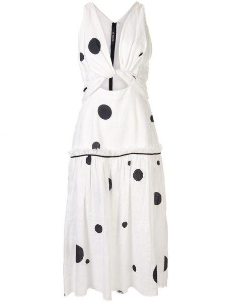 Приталенное расклешенное льняное платье на молнии Kitx